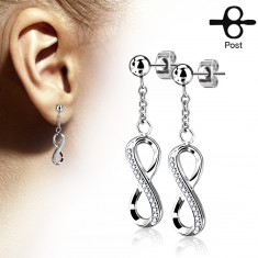 Surgical steel earrings, shiny infinity symbol decorated with zircons