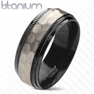 Titanium ring, black notched borders, cut matt middle strip, 8 mm