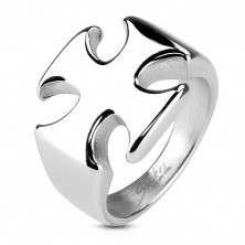 Massive ring made of surgical steel, smooth shiny Maltese cross
