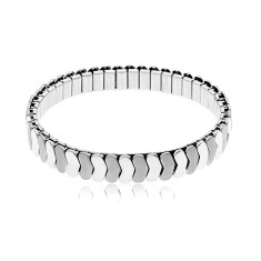 Steel bracelet in silver colour, stretchy, shiny and matt links