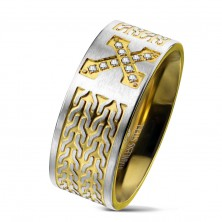Surgical steel ring, cross with zircons, chain pattern, 9 mm