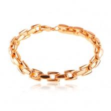 316L steel bracelet in copper colour, shiny chain of angular links