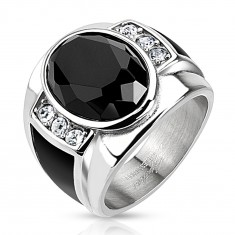Steel ring with black cut oval, clear zircons and black strips