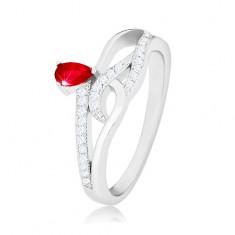 925 silver ring, red teardrop zircon, wavy zircon lines