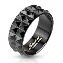 Ring made of black surgical steel with cut surface, 8 mm