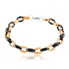 316L steel bracelet, perpendicularly joined oval links, black and copper colour