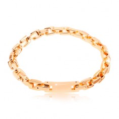 Steel bracelet in copper colour, chain composed of angular links, tag