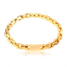 Surgical steel bracelet with tag, chain of angular links, gold colour