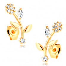 Earrings in yellow 9K gold - flower with bent flower-stalk, clear zircons
