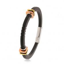 Black rubber bracelet, decorative notches, squares in gold and copper colour