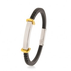 Bracelet made of black rubber, smooth steel tag, squares and circles in gold colour