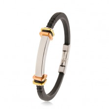 Black rubber bracelet with notches, steel tag, bicoloured squares