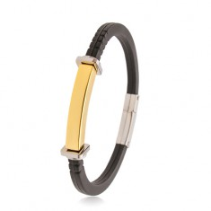 Black bracelet made of rubber, steel tag in gold colour, squares and circles on the sides