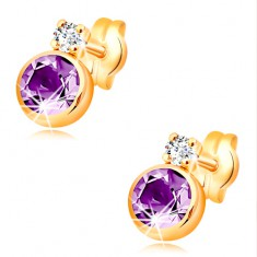 14K gold stud earrings with violet amethyst and clear zircon