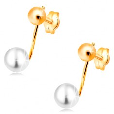 Earrings made of yellow 14K gold - shiny ball and white pearl on stick