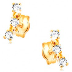 Earrings made of yellow 14K gold - arc composed of clear zircons and shiny balls