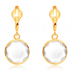 14K gold earrings - clear round crystal dangling on narrow arc
