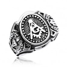 Surgical steel ring, big oval and symbols of freemasons
