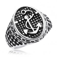 Ring made of 316L steel, patinated oval with anchor and tiny dots
