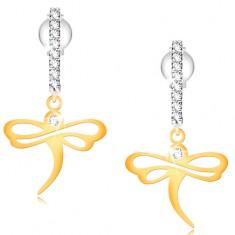 585 gold earrings - shiny dragonfly on zircon arc