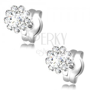 Earrings made of white 14K gold - glistening flower composed of round clear zircons