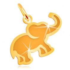 Pendant made of yellow 14K gold - small flat elephant with matt centre