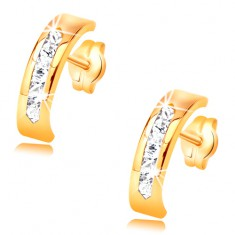 Earrings made of yellow 14K gold - arc decorated with clear zircon line