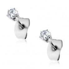 Steel stud earrings with clear cut zircon, 2 mm