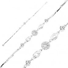Bracelet made of 925 silver, clear zircon flower, shiny ovals with hearts