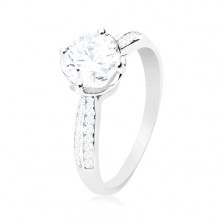 Engagement ring, 925 silver, clear round zircon in decorative mount