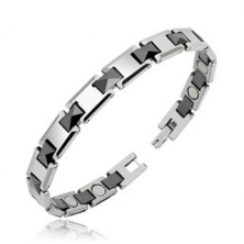 Magnetic tungsten bracelet with black joints, high gloss