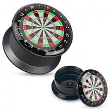 Black screw plug made of acrylic, coloured motif of dartboard
