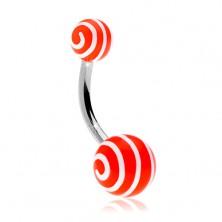 Steel bellybutton piercing, orange balls with white spiral