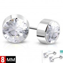 Earrings made of 316L steel, silver colour, round clear zircon, 8 mm