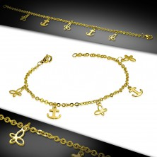 Steel bracelet in gold colour, chain composed of oval links, anchors and butterflies
