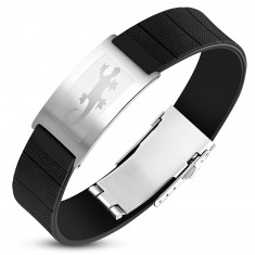 Steel-rubber bracelet, black strap with tag in silver colour, lizard