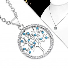 Necklace made of 316L steel, clear circle and tree of life with blue balls