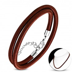 Necklace wound around with shiny tread in chocolate-brown colour, lobster closure