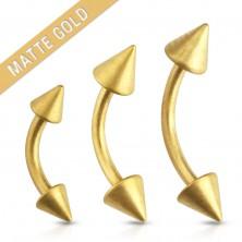 Steel eyebrown piercing, gold colour, smooth matt surface, cones