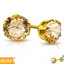 Surgical steel earrings in gold colour, light orange zircon in mount, 8 mm