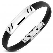 Bracelet made of black rubber, steel tag with oblique notches