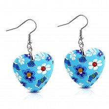 Earrings dangling on Afrohooks, blue FIMO hearts with flowers and zircons