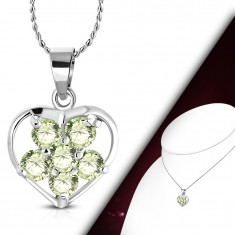Necklace - a chain with a pendant, light green zircon flower in a heart contour