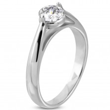 Engagement ring, 316L steel of silver color, a clear zircon, round shoulders