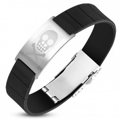 Black rubber bracelet with a steel tag in silver color, a skull with bones