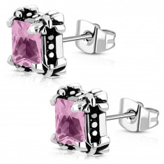 Surgical steel stud earrings - a pink zircon in clutches