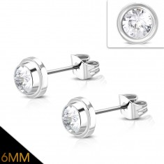 Steel stud earrings, a shiny circle with embedded clear zircon