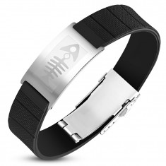 Steel-rubber bracelet, black strap with tag in silver color, fish bone