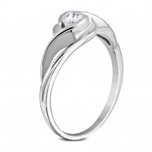 A surgical steel silver ring, wavy shoulders, round clear zircon