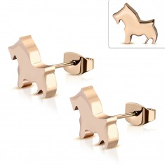Surgical steel earrings of copper color - a small dog, stud earrings